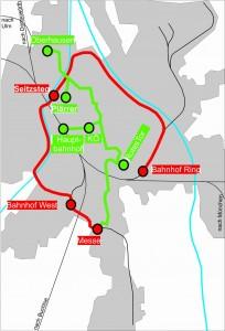 Streckenverlauf Localbahn rot; Straßenbahn grün